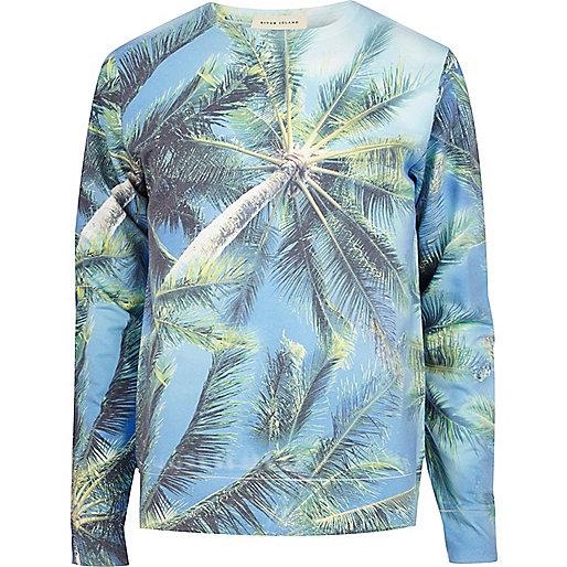 Blue palm tree print sweatshirt