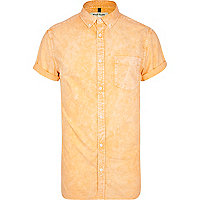 Orange acid wash Oxford shirt