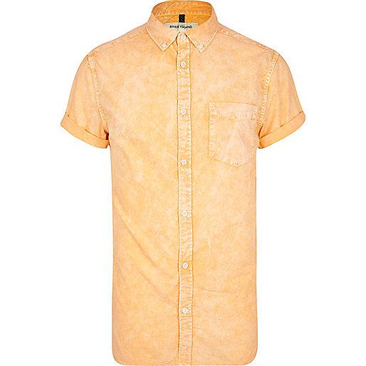 Orange acid wash Oxford shirt