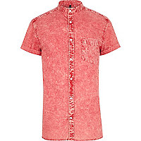 Red acid wash grandad shirt