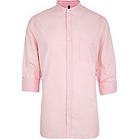 Pink grandad collar Oxford shirt