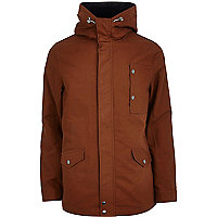 Rust red hooded casual jacket