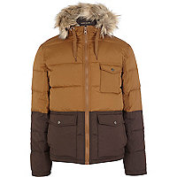 Tan two-tone padded jacket