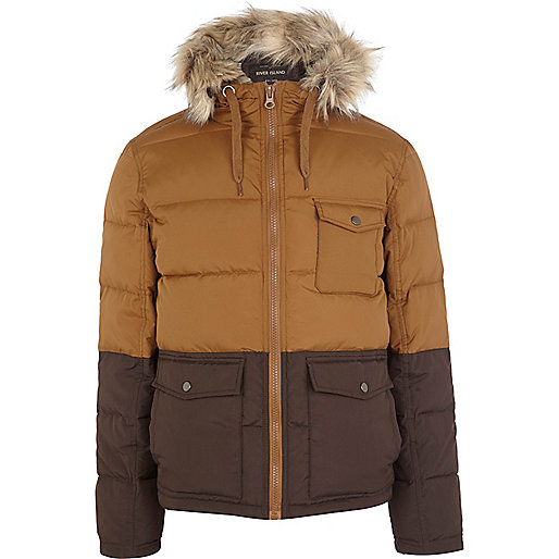 Tan two-tone padded jacket