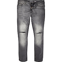Grey distressed Sid skinny stretch jeans