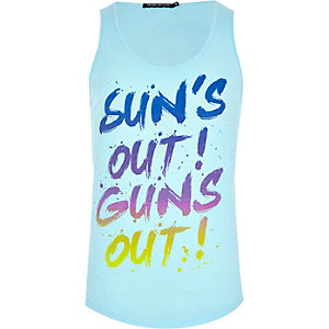 Blue Friend or Faux suns out guns out vest