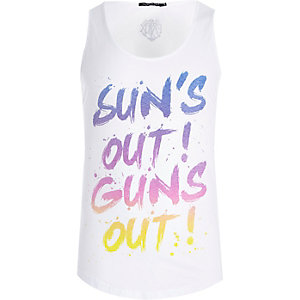 White Friend or Faux sun's out print vest