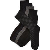 Black basket weave socks pack