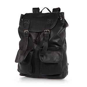 Black leather-look backpack