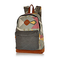Grey aztec print backpack