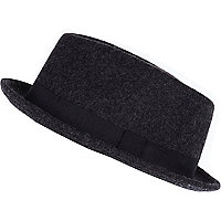 Dark grey melton bowler hat