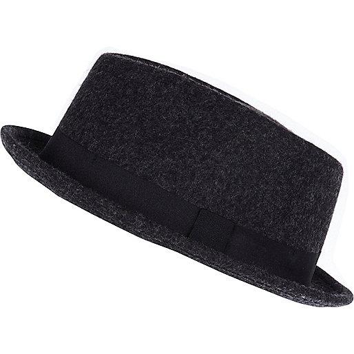 Dark grey melton bowler hat