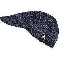 Navy herringbone melton flat peak cap