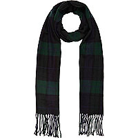 Navy check brushed woven scarf