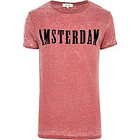 Red burnout Amsterdam print t-shirt