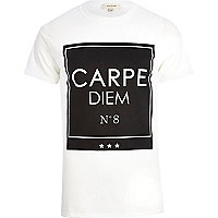 White carpe diem print t-shirt