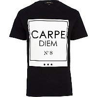 Black carpe diem print t-shirt