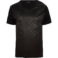 Black diagonal stripe scoop neck t-shirt