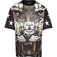 Black mesh Tiger print spliced t-shirt