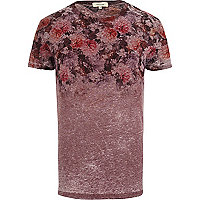 Dark red floral fade t-shirt