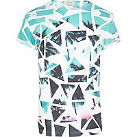 Blue broken glass palm print t-shirt