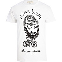 White hometown Amsterdam print t-shirt