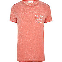 Orange Surf Club burnout print t-shirt