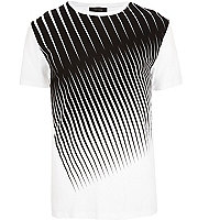 White diagonal stripe crew neck t-shirt