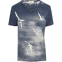 Blue burnout bird print low scoop t-shirt