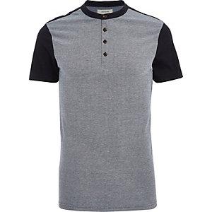 Navy colour block grandad polo shirt