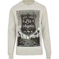 Ecru Los Angeles shield print sweatshirt