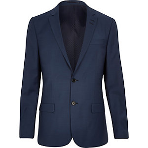 Blue wool blend slim suit jacket