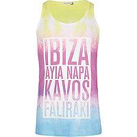 White tie dye Ibiza Ayia Napa print vest