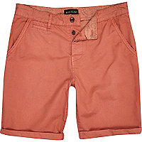 Coral turn up slim chino shorts