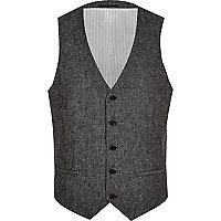 Dark grey herringbone waistcoat