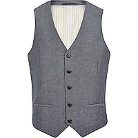 Blue crosshatch single breasted waistcoat