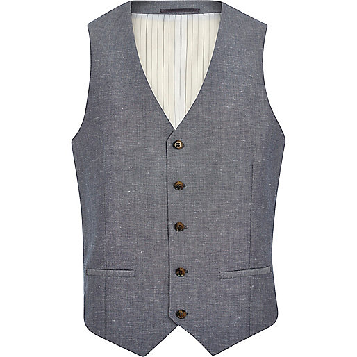 Blue crosshatch single breasted waistcoat