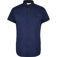 Navy blue short sleeve stretch-cotton shirt