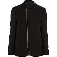 Black asymmetric zip blazer