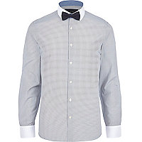 Navy stripe bow tie long sleeve shirt