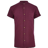 Purple grandad collar shirt