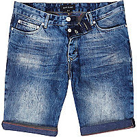 Mid wash slim stripe turn up denim shorts