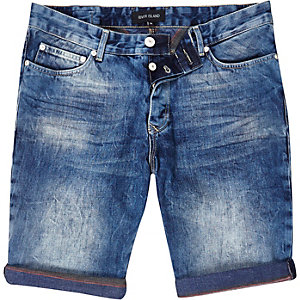 Mid wash slim denim shorts