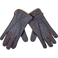 Grey melton leather-look trim gloves