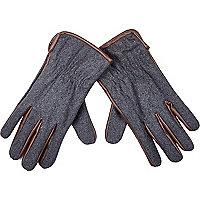 Grey melton leather-look trim gloves