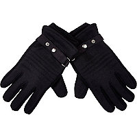 Black melton knit panel gloves