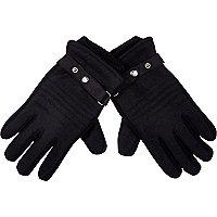 Black melton knit panel gloves