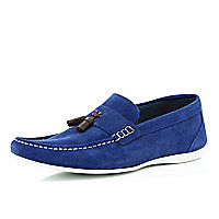 Blue suede tassel trim loafers
