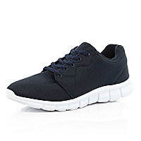 Navy blue mesh trainers