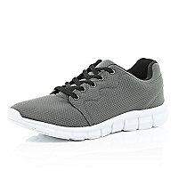 Grey mesh trainers